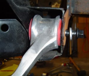 Lower control arm inserted into C4 suspension cradle