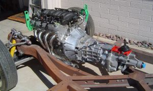Test fit of LS1 and Tremec T56 in to 1956 Corvette frame