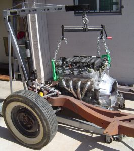 LS1 being installed in 1957 Corvette RestoMod chassis
